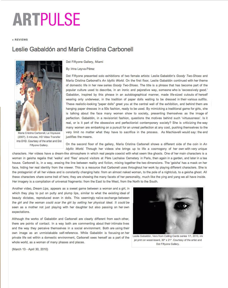 Art Pulse Magazine - Press © Maria Cristina Carbonell